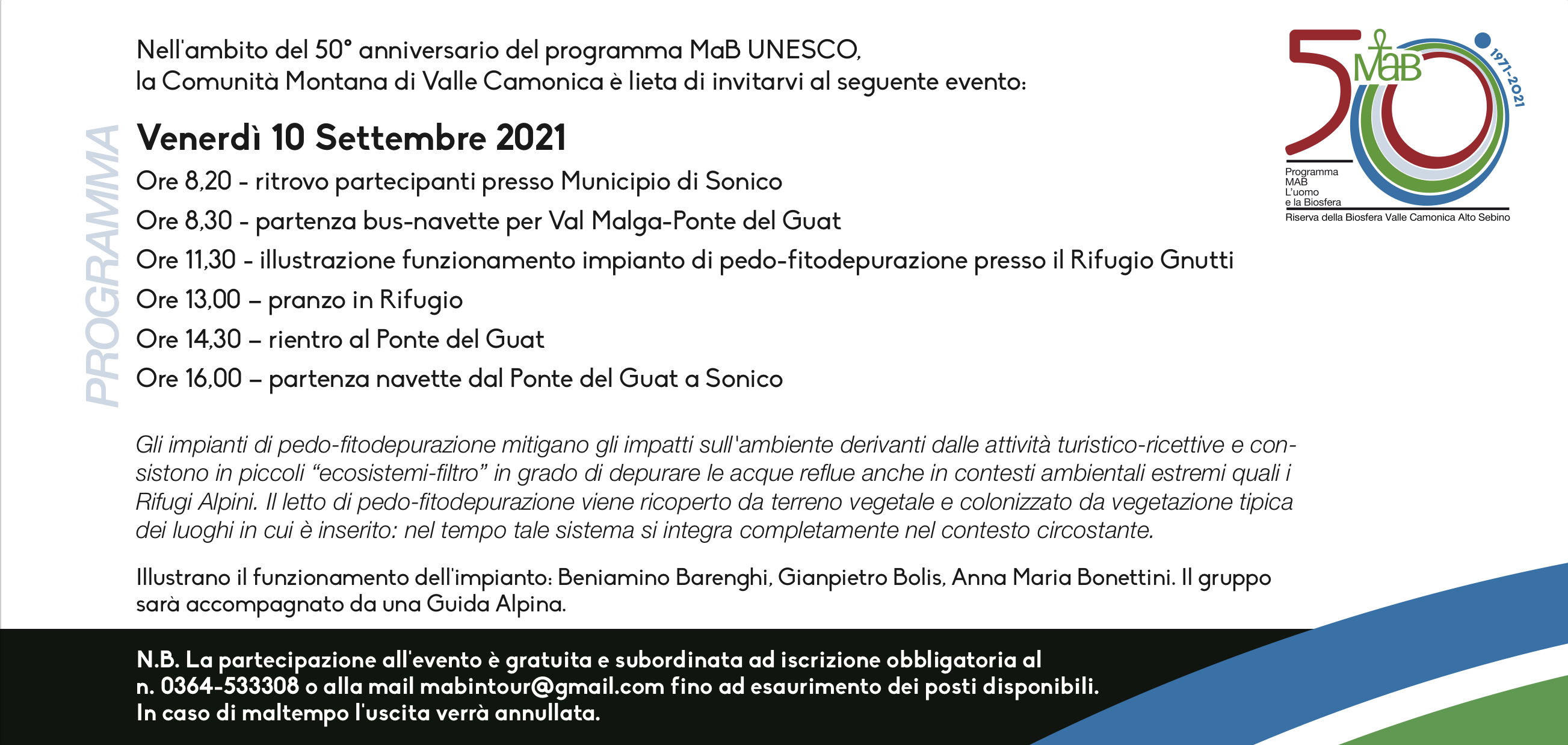 Invito 10 settembre - 50° anniversario MAB Unesco Valle Camonica